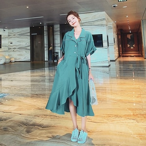 NSMW MI 2021 Korean Mid-length Shirt Dress Women's Summer New Fashion Casual Over The Knee Lace-up  Collar Skirt D34