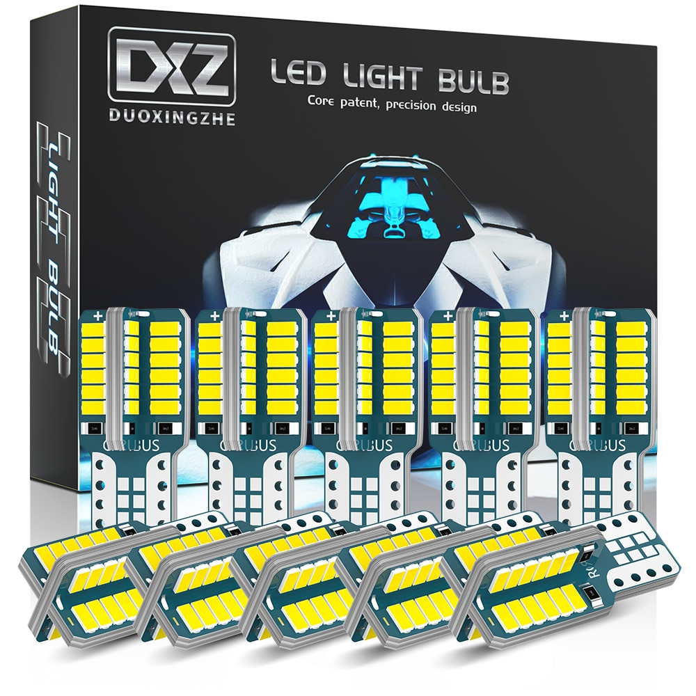 DXZ 10PCS T10 LED Car W5W LED Bulbs Canbus  48-SMD 168 194 6000K 12V White Car Interior Dome Map Light Clearance Light Non-polar xigyte t10 led car w5w light bulb t10 12v car accessories interior light 6000k white clearance light for car styling motorcycle
