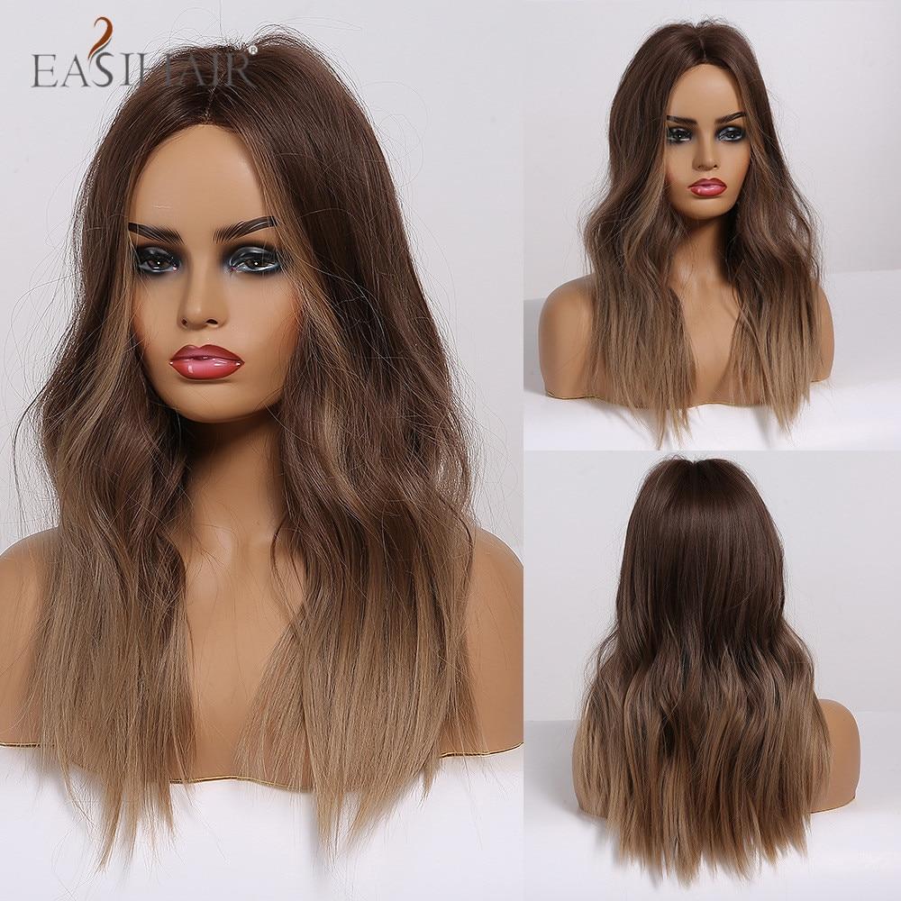 Peluca EASIHAIR de longitud media con ombré, marrón oscuro, castaño claro, pelucas sintéticas onduladas naturales para mujer, Cosplay, parte media, resistente al calor