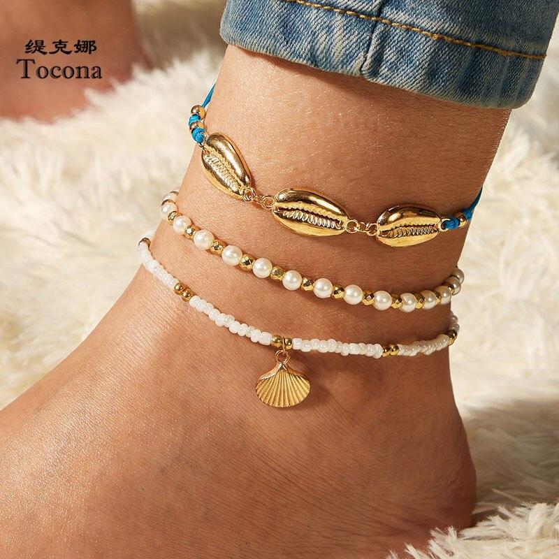 Tocona 3 unids/set bohemia de cuentas tobilleras para mujer verano Vieira piedra perla cuerda Pie ajustable de la cadena de joyería 9336