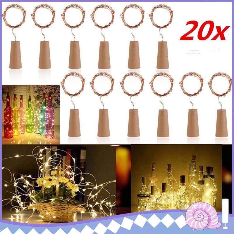 10/20 stücke 20 LED Cork Geformte Flasche Stopper Lampen Glas Wein Silber Kupfer String Beleuchtung Weihnachten Party Hochzeit Dekoration