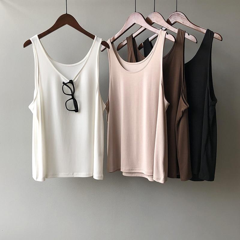 2020 moda Boho verano Casual Tank Tops Sexy sin mangas mujeres o-cuello camiseta femenina Candy Color verano blanco Camis