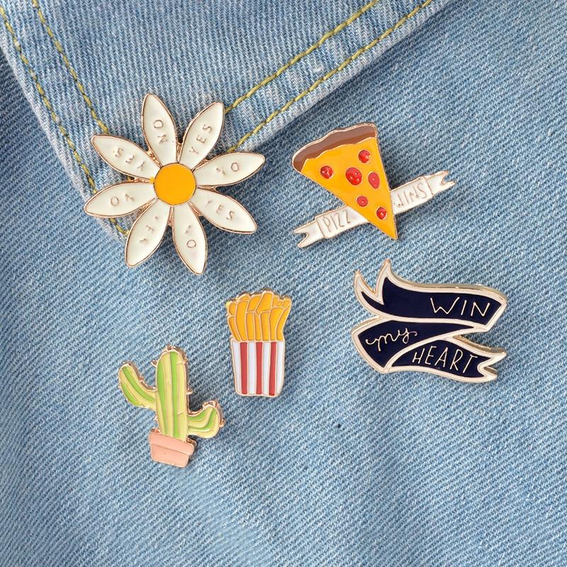 Batatas fritas pizza planta cactus girassol pino broche atacado colar mochila agulha animal distintivo jóias