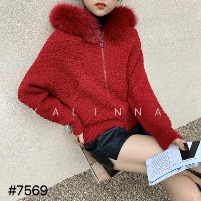 Women sweater 2021 new real fox fur collar loose lazy style short bat sleeve cardigan sweater women enlarge