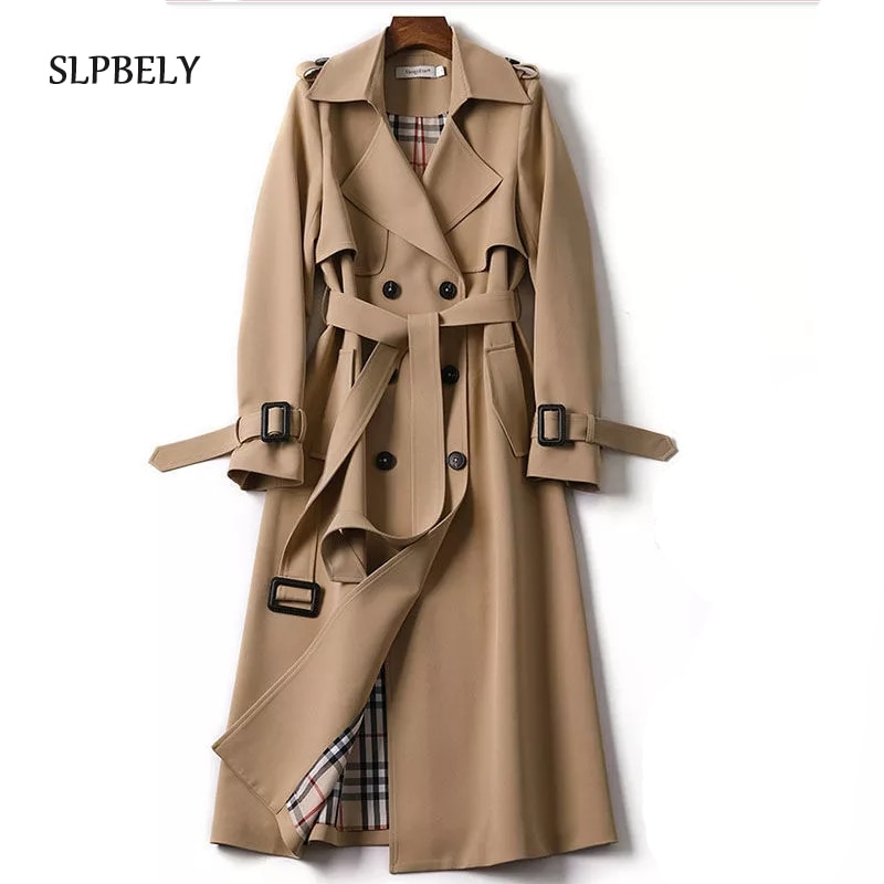 SLPBELY Women Trench Coat Windbreaker Casual Lapel Lace Up Double-Breasted Belt Coat Jacket Winter L