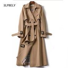 SLPBELY Women Trench Coat Windbreaker Casual Lapel Lace Up Double-Breasted Belt Coat Jacket Winter L