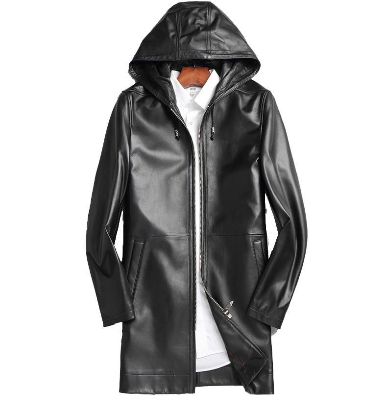 رجال الأعمال الشتاء أبلى غير رسمي أسود اللون معطف سترة قصيرة معطف جلد الغنم الحقيقي مع غطاء محرك السيارة الخريف