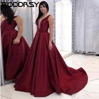 satin burgundy evening dresses sexy deep v neck backless prom dress 2020 sweep train wedding party gowns