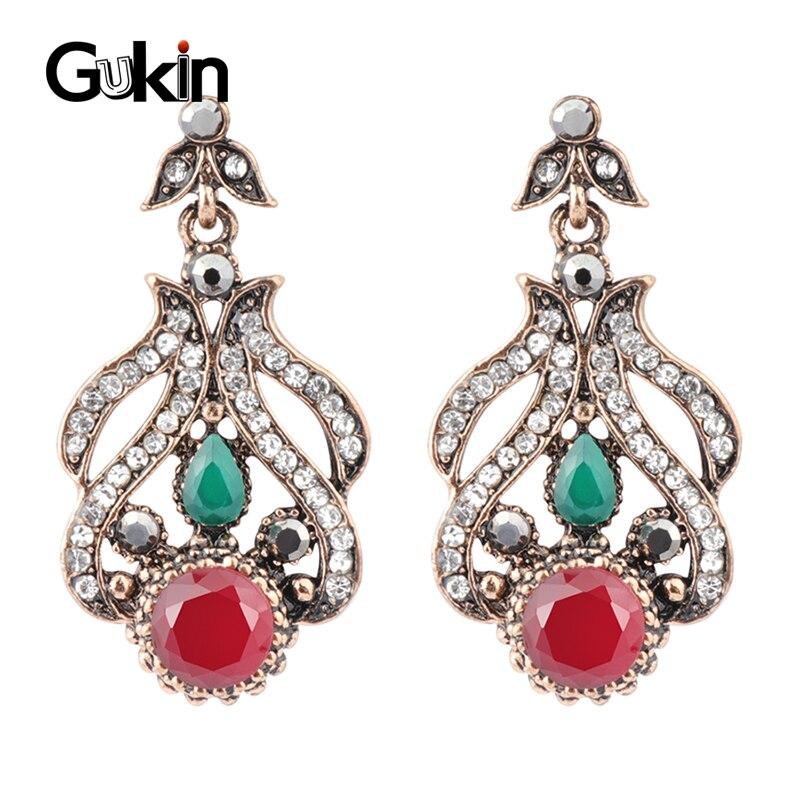 Gukin nuevo colgante largo De Palacio, pendientes de oro antiguo para mujer, pendientes de fiesta de cristal rojo Vintage, joyería India de lujo