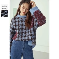 fansilanen wool oversized plaid knitted sweater women autumn winter loose vintage pullover female knitwear casual jumper top