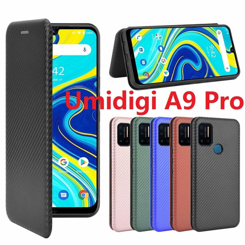 Fibra de carbono para umidigi a9 pro caso magnético livro suporte flip card capa protetora carteira couro umidigi a7 pro Bolsas de telefone    -