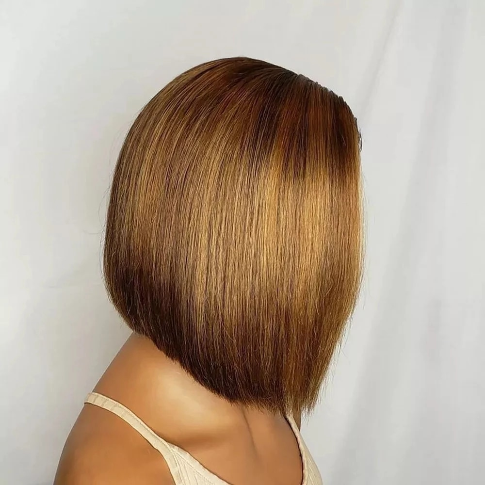 Silky Straight Bob Straight Highlight Indian Remy Human Hair Wigs with Baby Hair 13x6 Side Part Lace Front 180Density Wigs