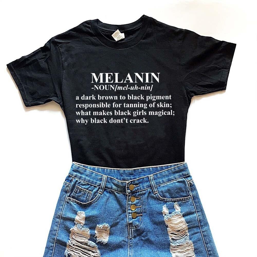 1pcs Verão Estilo Moda Top Tee Melanina Coração Imprimir Rodada T-Shirt Das Mulheres Negras As Pessoas Dos Direitos Humanos Gráfico T Bonito estética