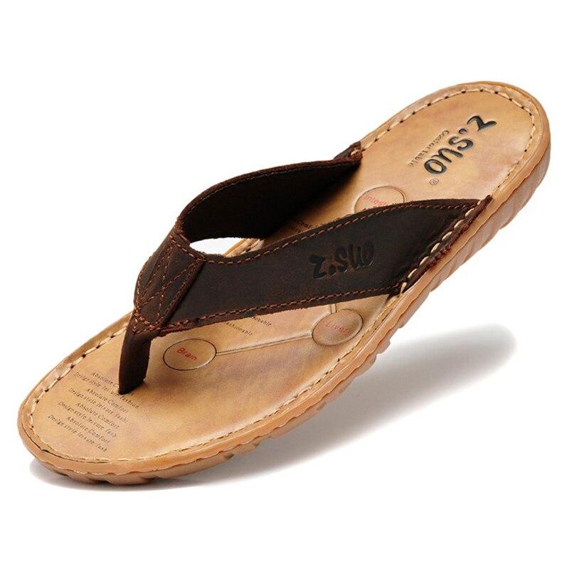Chanclas de cuero genuino para Hombre, zapatillas de playa para exteriores, Sandalias...