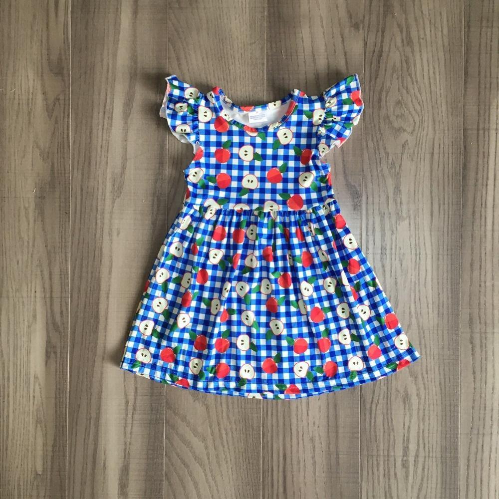 baby girls summer dress girls back to school clothes apple dress girls plaid blue dress girls boutique dress