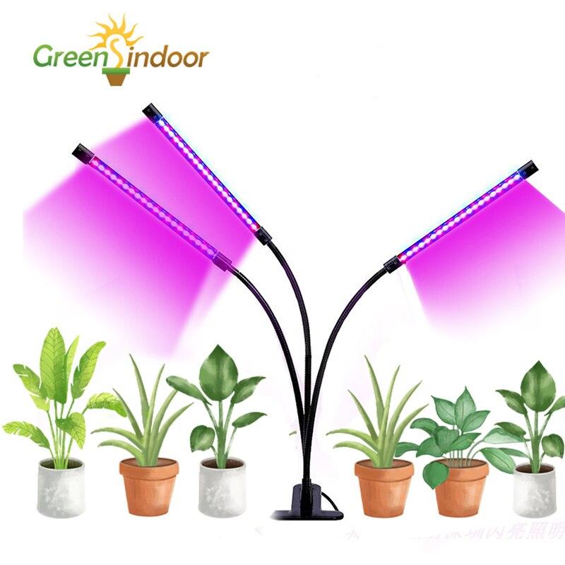 LED Led tiras de luz USB completo espectro de Phyto lámpara 27W lámpara de Interior para las plantas Led azul rojo temporizador para flor de regalo