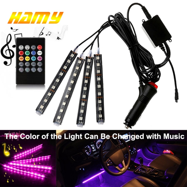 4pcs Car RGB USB LED Strip Light Interior Styling Decorative Atmosphere Lamps Strip LED With Remote Voice controlled rhythm lamp