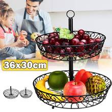 2 Tier Black Fruit Basket Holder Decorative Tabletop Bowl Stand for Vegetables Snacks Household Products