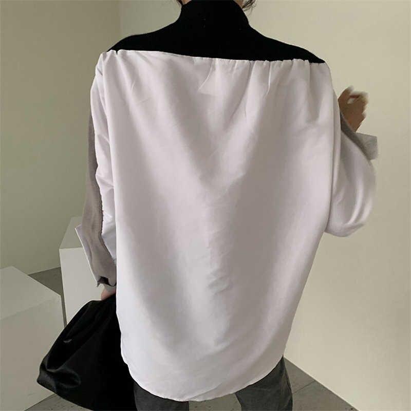 Korean Style 2021 Mode Patchwork Chic Short Herfst Basic New Used Women V-neck Dress Color Hit Truien enlarge