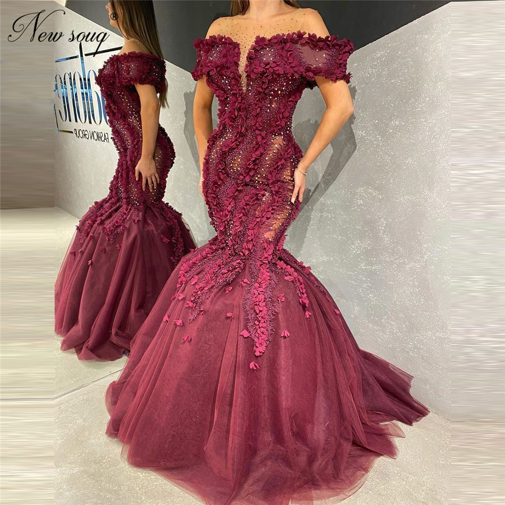 Charming Off Shoulder Evening Dresses 2020 Robe De Soiree Beading Formal Party Gowns Abendkleider Ap