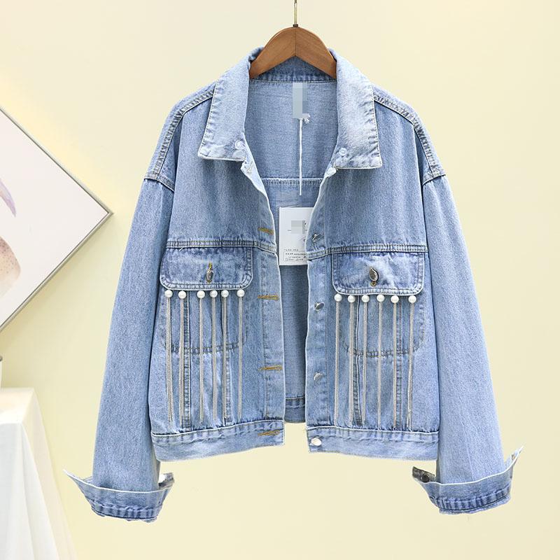 2020 Spring Autumn New Loose Short Nail Beads Tassel Network Cowboy Coat Female Casual Denim Jackets Womens Jeans Coat Outwear