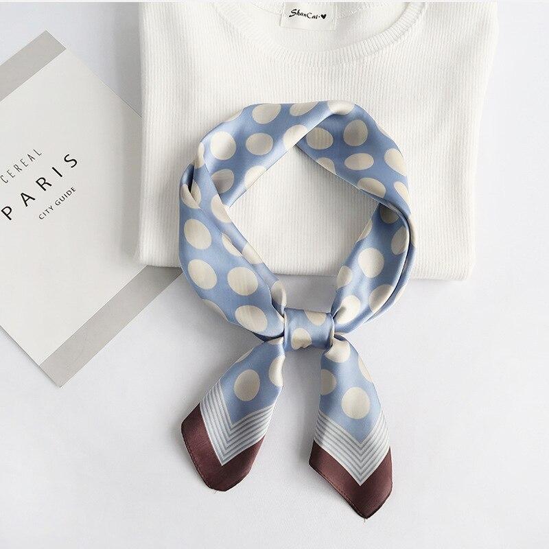 Fashion Handkerchief Hair Scarf For Women Silk Satin Headband Small Hijab Scarfs 70*70cm Shawls Dot Print Bag Scarves 2020