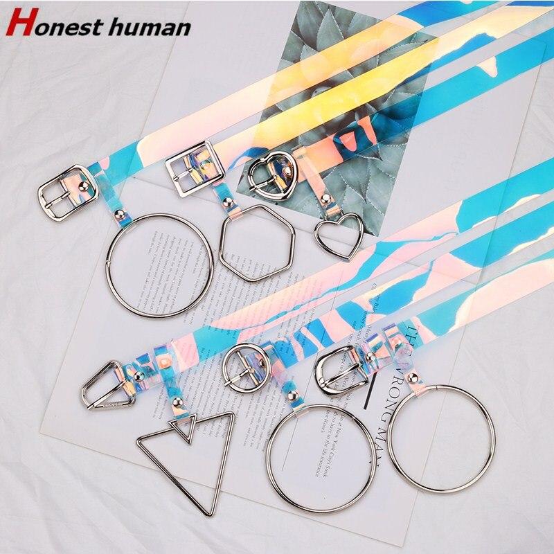 Cinturones de plástico transparentes con láser a la moda para mujer, cinturón transparente de Color arcoíris, bonito círculo en forma de corazón, triángulo colgante de Metal, correa para Vaqueros