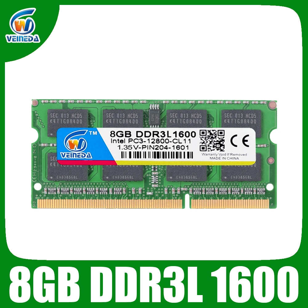 Ordenador portátil VEINEDA ram DDR3L 8gb 1333 ram-memoria-ddr3L 1333Mhz para Intel AMD Sodimm ddr3L 8gb pc3-12800 204PIN