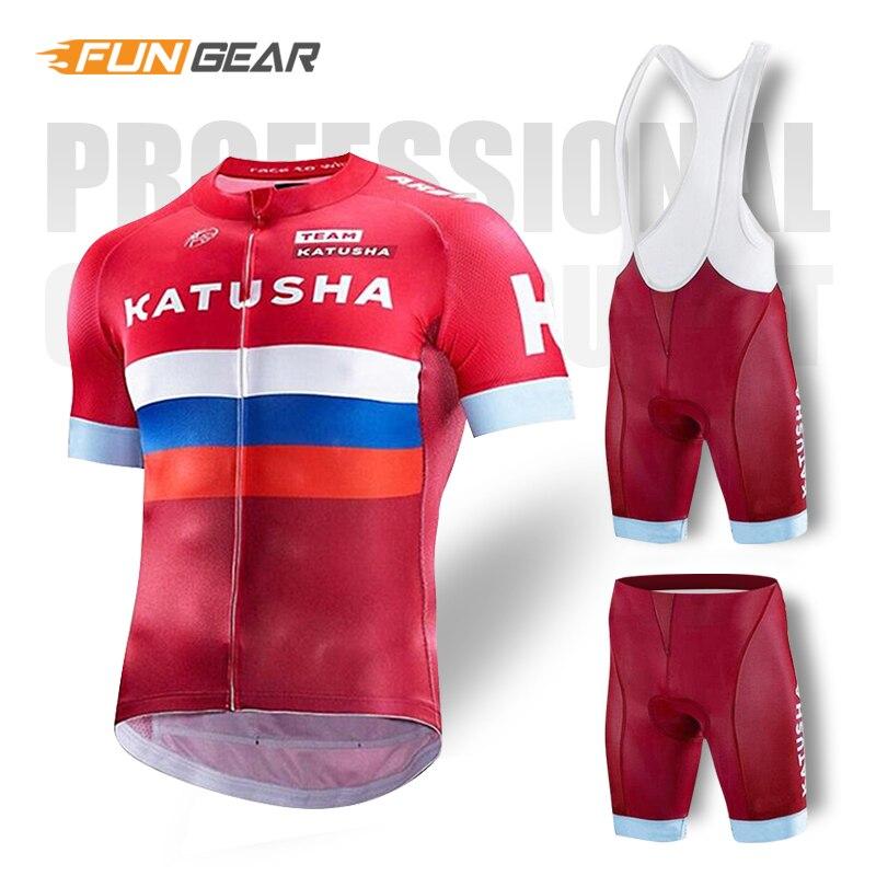 Katusha pro equipe roupas de ciclismo dos homens jérsei conjunto bicicleta estrada wear corrida roupas esportivas verão secagem rápida ropa maillot kit vermelho