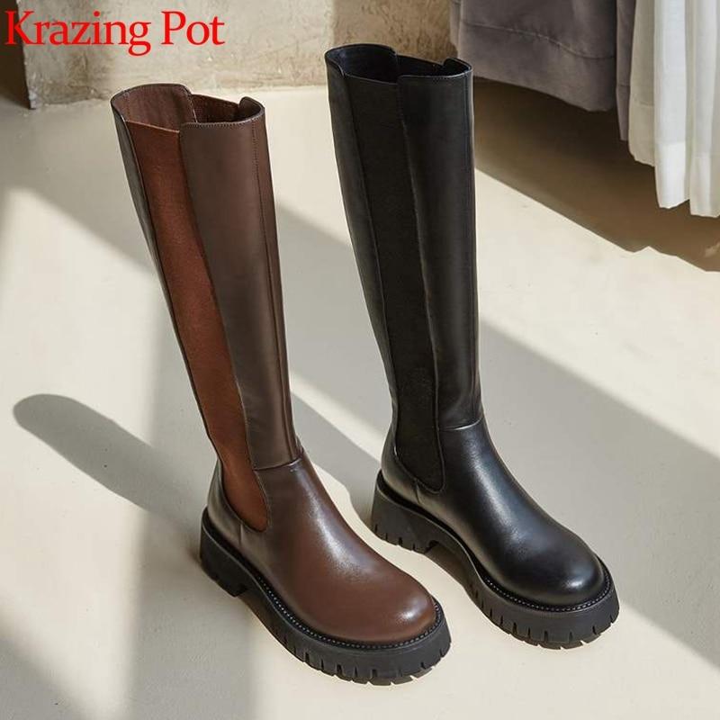 Krasing Pot-حذاء نسائي من جلد البقر بمقدمة دائرية ، حذاء نسائي برباط ، نعل جيلي ، ألوان مختلطة ، نمط preppy ، L31