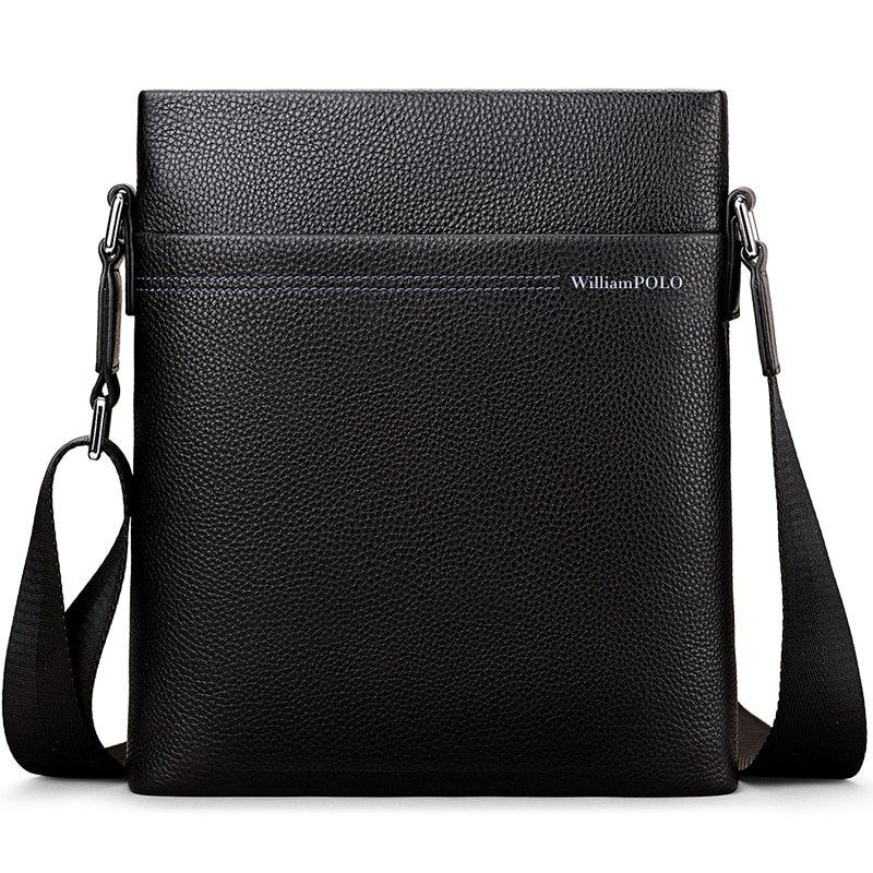 WilliamPolo Men Tote Bags Cow Leather Famous Brand New Fashion Men Messenger Bag Male Cross Body Shoulder Business Bags For Men