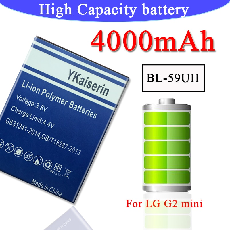 Good Quality G2 Mini Battery For LG G2mini D410 D315 D618 D620 D620R D620K F70 BL-59UH 4000mAh BL59UH