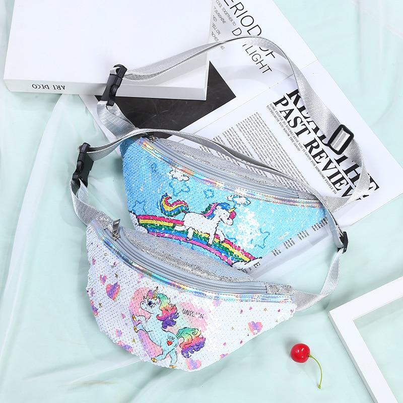 Unicorn Sequins Waist Pack Girls Shoulder Belt Bag Kids Fanny Chest Bag Cartoon Girls Belt Mermaid S