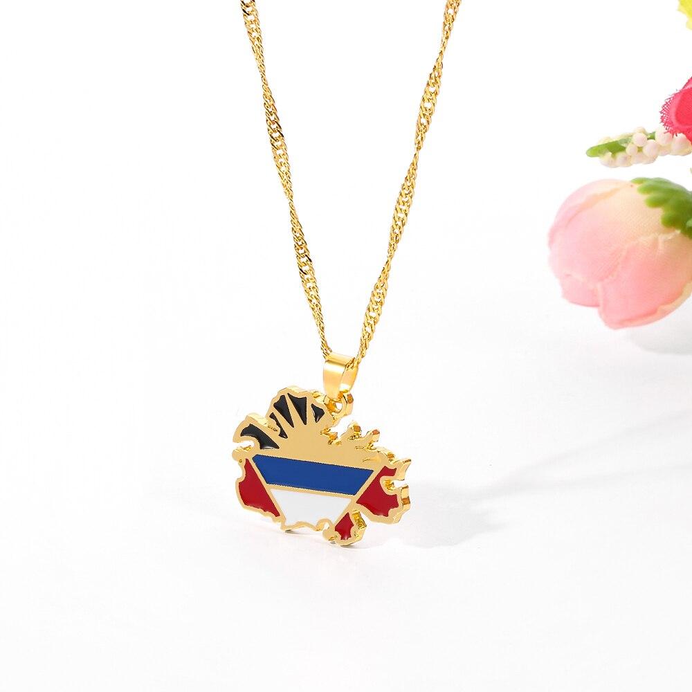 Mapa de antígua & bandeira pingentes e colares para mulheres meninas cor de ouro onda corrente jóias gargantilha colar presentes waladli
