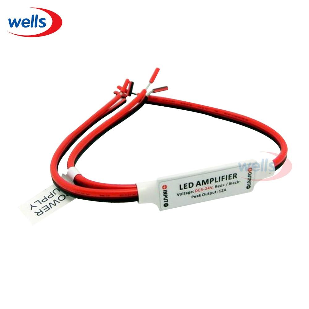 ¡Nuevo! 1 Uds Mini amplificador de tira remota IR controlador atenuador Led uso para un solo Color 5050 3528 5630 tira de luz LED DC5 ~ 24V 12A