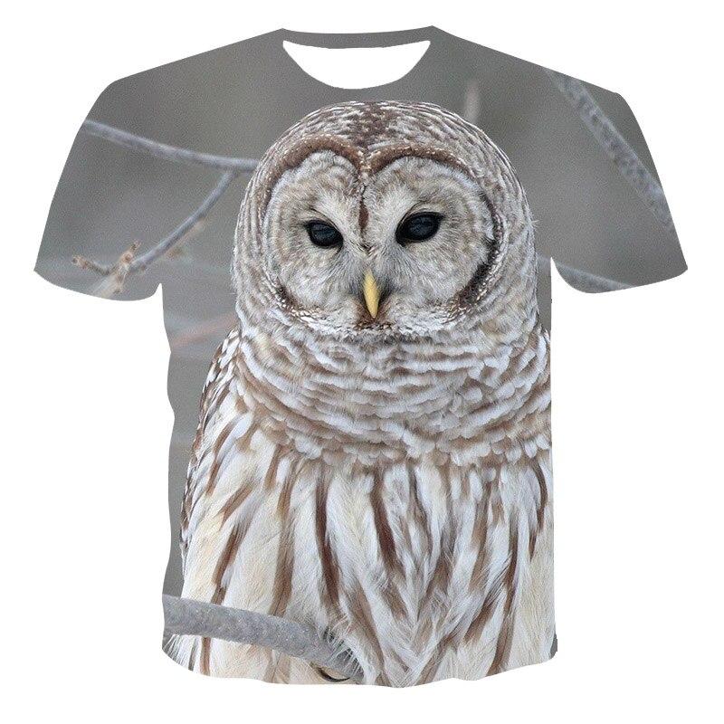 Búho 3D impreso manga corta Camiseta 2020 novedad de verano 3D camiseta pantalón corto Casual de manga larga o-Cuello de moda camisetas