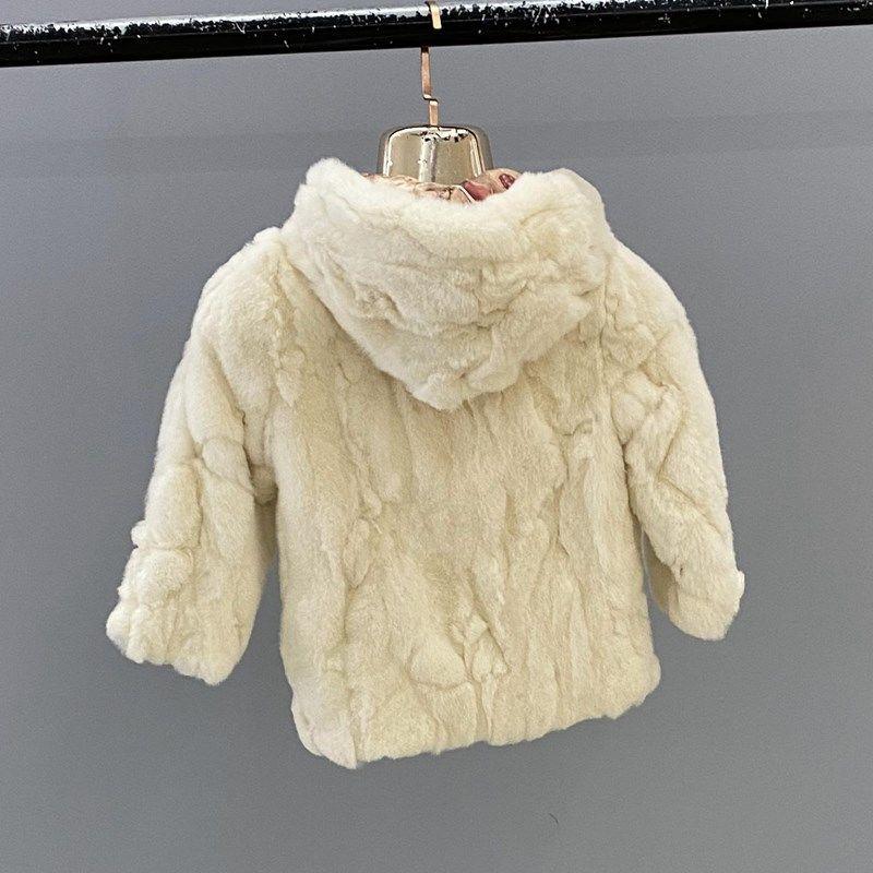Natural Rex Rabbit Fur Hooded Coats For Girls Winter Russian Kids Warm Hooded Fur Short Jackets BoysHot Genuine Fur Overcoat enlarge
