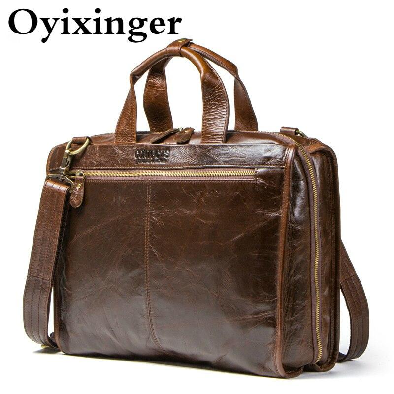 OYIXINGER Top Quality Men Laptop Briefcase Genuine Leather Laptop Handbags For 15