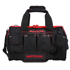 METERK حقيبة أدوات ألومنيوم محمولة حقيبة حجم كبير 16 بوصة أداة تخزين عدة 7 جيوب طقم كهربائي مع حزام كتف قابل للتعديل