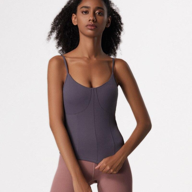Camiseta sin mangas de Yoga Oyoo para mujer con almohadillas extraíbles Rosa entrenamiento deportivo camiseta para correr Chaleco de Nylon Cami con correas ajustables para los hombros