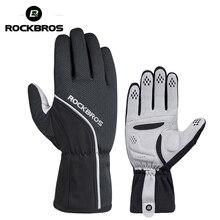 ROCKBROS gants de cyclisme thermique coupe-vent Ski vélo gants de vélo vtt route antidérapant tapis chaud moto Sport moufle noir
