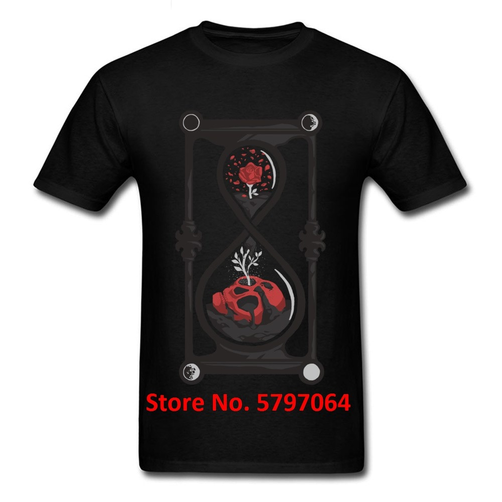 Camiseta rosa roja y calavera Memento Mori, camiseta exclusiva 2020, nuevas camisetas de reloj de arena para el Día de Acción de Gracias, ropa 100% de algodón para hombres