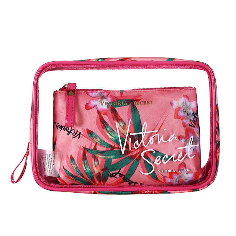 the new portable pvc cosmetic bag 3 piece set outdoor travel bag fashion transparent storage bag waterproof wash bag The New Portable PVC Cosmetic Bag 3-Piece Set Outdoor Travel Bag Victoria's Secret Transparent Storage Bag Waterproof Wash Bag