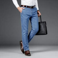 SHAN BAO classic embroidery men's business gentleman fitted straight jeans 2020 autumn brand clothin
