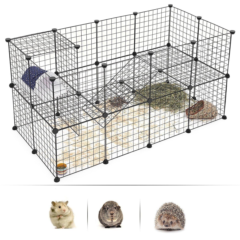 Jaula de malla de alambre para mascotas, jaula de perro, gato, conejo, jaula de hierro multifunción, jaula de Metal de conejillo de indias para hámster