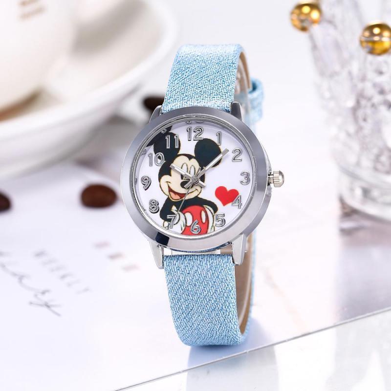 AliExpress - Disney Mickey Minnie Cartoon Color number dial pointer Luminous children students leather quartz Wrist watch birthday gifts