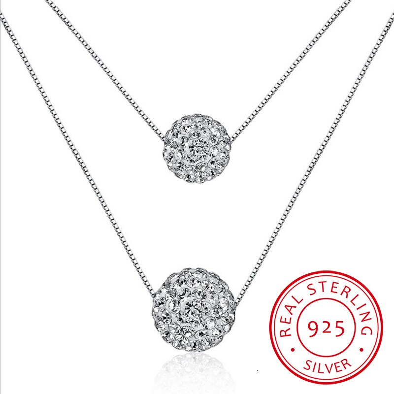 925 prata esterlina dupla camada brilhante cz zircônia cristal lucky ball pingente colar para presente feminino colares S-n58