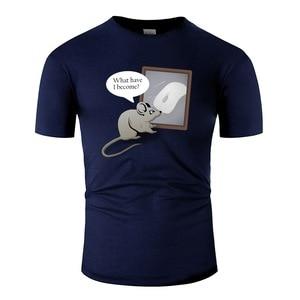 Забавная мышь отражает свою жизнь Мужская футболка с круглым вырезом для мужчин s короткий рукав 100% хлопок хип хоп