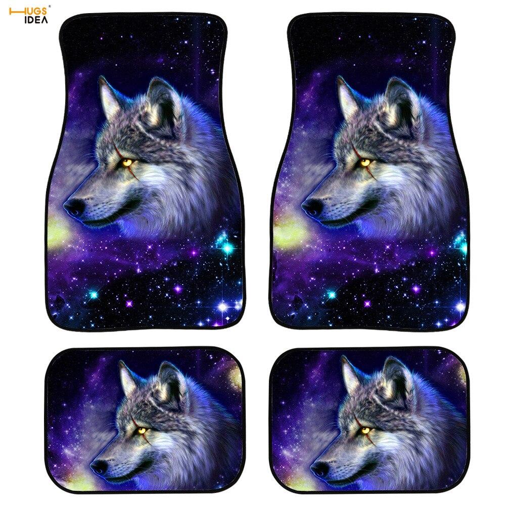 4 pces estrela lobo selvagem automotivo interior esteira universo/galáxia cavalo/tigre/leão tapetes do carro tapetes do assoalho do veículo tapetes antiderrapantes