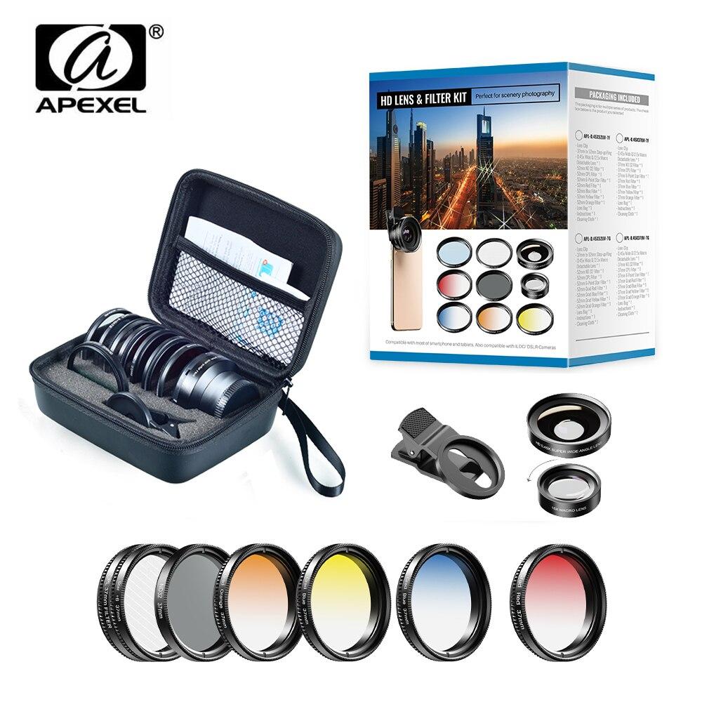 APEXEL 37mm 7 EM 1 Lente Câmera Do Telefone Kit Filtros + CPL ND Graduado Vermelho Amarelo Azul/Estrela filtros Para O Iphone Xiaomi